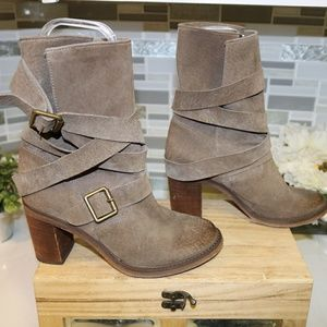 Jeffrey Campbell gray leather booties